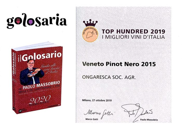 Certificato Pinot Nero 2015 TOP Hundred 2019 alla Fiera Golosaria Milano